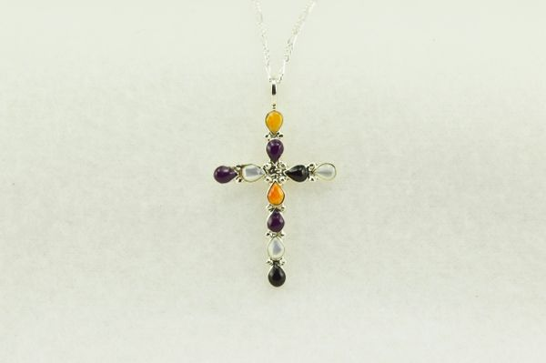 """Sterling silver multi color cross pendant with sterling silver 18"""" figaro chain. N193"""