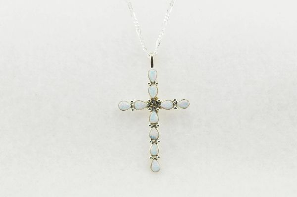 "Sterling silver white opal cross pendant with sterling silver 18"" figaro chain. N194"