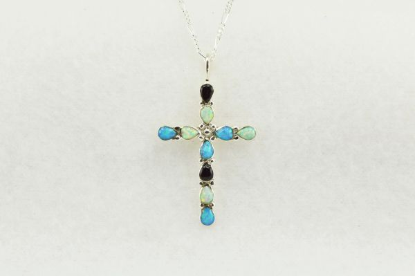 """Sterling silver white opal, blue opal and black onyx cross pendant with sterling silver 18"""" figaro chain. N195"""