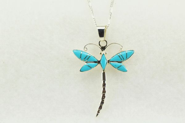 "Sterling silver turquoise dragonfly pendant with sterling silver 18"" figaro chain. N196"