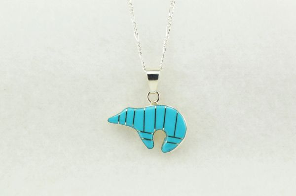 "Sterling silver turquoise inlay spirit bear pendant with sterling silver 18"" figaro chain. N199"