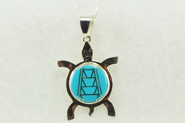 "Sterling silver turquoise inlay turtle pendant with sterling silver 18"" figaro chain. N200"