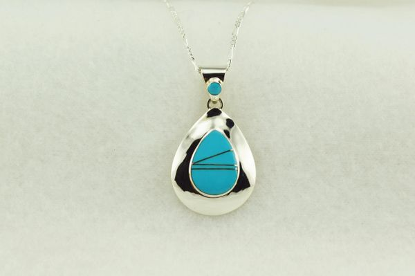 "Sterling silver turquoise inlay raindrop pendant with sterling silver 18"" figaro chain. N203"