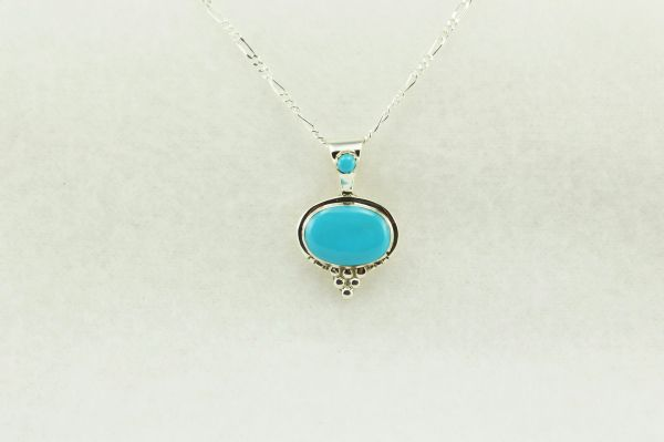 "Sterling silver turquoise oval pendant with sterling silver 18"" figaro chain. N204"