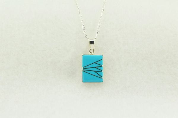 "Sterling silver turquoise inlay rectangle pendant with sterling silver 18"" figaro chain. N206"