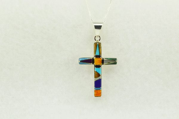 "Sterling silver multi color inlay cross pendant with sterling silver 18"" figaro chain. N213"