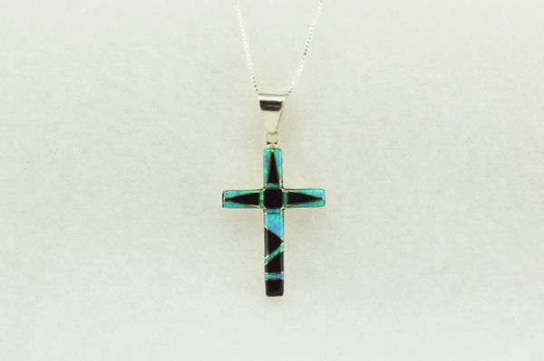 "Sterling silver blue opal and black onyx inlay cross pendant with sterling silver 18"" figaro chain. N214"