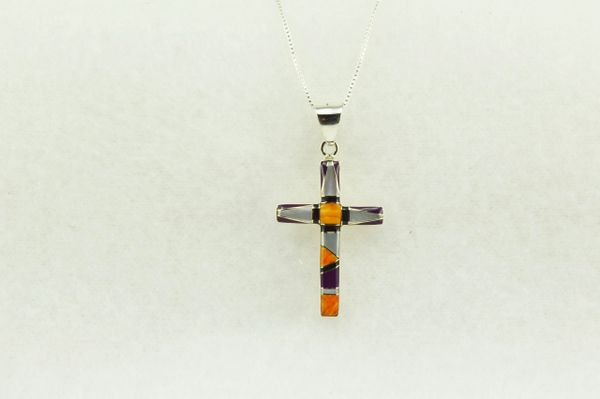 """Sterling silver multi color inlay cross pendant with sterling silver 18"""" figaro chain. N216"""