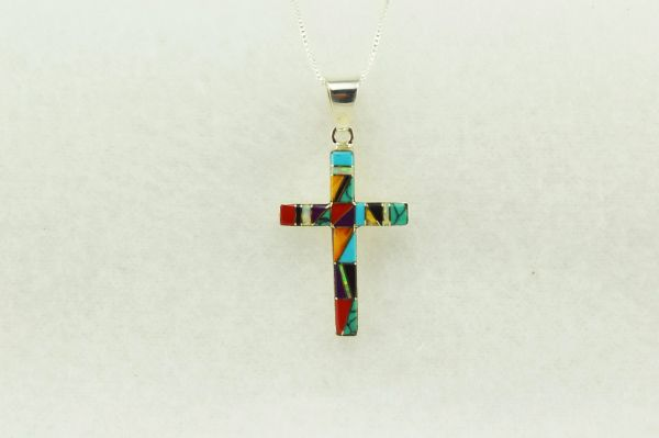"Sterling silver multi color inlay cross pendant with sterling silver 18"" figaro chain. N217"