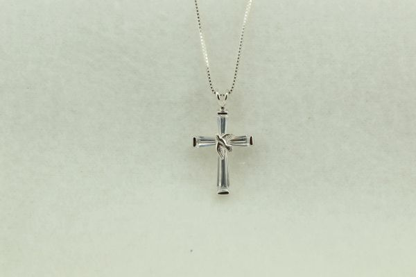 """Sterling silver cross pendant with sterling silver 18"""" box chain. N220"""