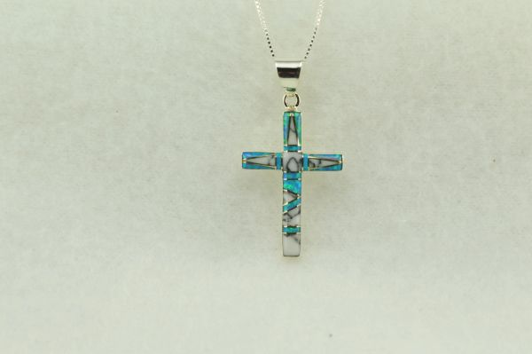 "Sterling silver howlite and blue opal inlay cross pendant with sterling silver 18"" box chain. N221"