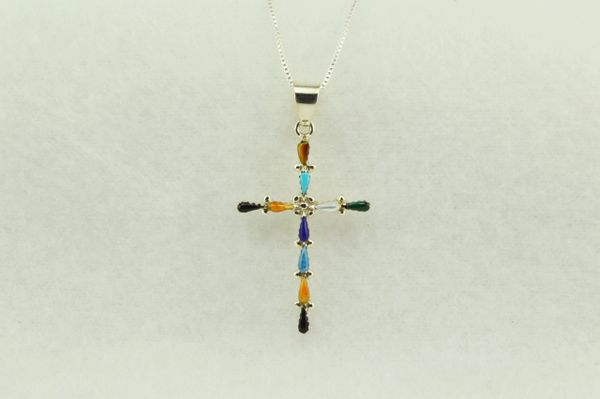 "Sterling silver multi color cross pendant with sterling silver 18"" box chain. N224"