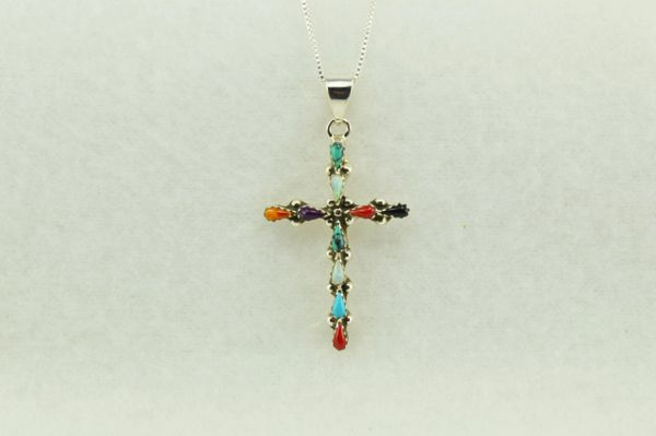 "Sterling silver multi color cross pendant with sterling silver 18"" box chain. N226"