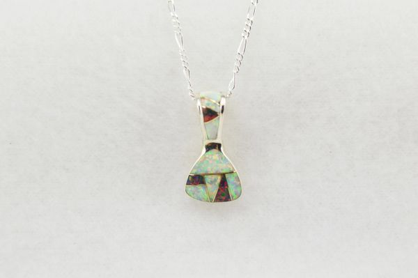 "Sterling silver black and white opal inlay pick shaped pendant with sterling silver 18"" figaro chain. N230"
