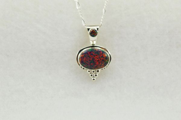 """Sterling silver black opal oval pendant with sterling silver 18"""" figaro chain. N231"""