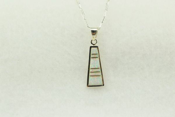 "Sterling silver white opal inlay tall triangle pendant with sterling silver 18"" figaro chain. N237"