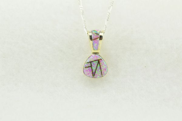 """Sterling silver pink opal inlay pick shaped pendant with sterling silver 18"""" figaro chain. N240"""