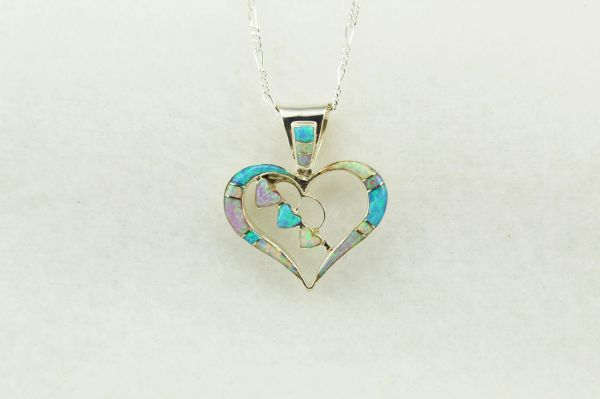 """Sterling silver pink, white and blue opal inlay heart pendant with sterling silver 18"""" figaro chain. N246"""