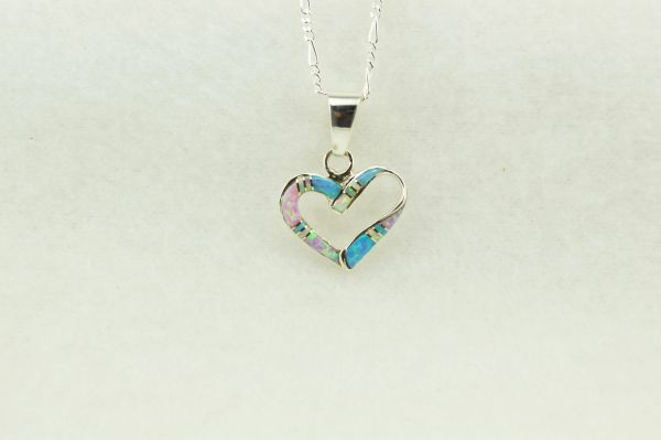 "Sterling silver pink, white and blue opal inlay heart pendant with sterling silver 18"" figaro chain. N249"