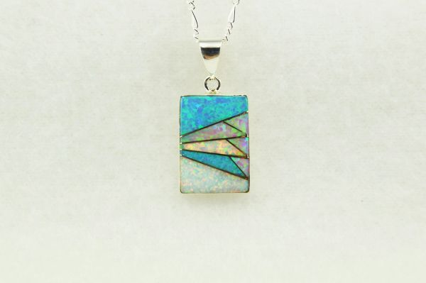 """Sterling silver pink, white and blue opal inlay rectangle pendant with sterling silver 18"""" figaro chain. N250"""