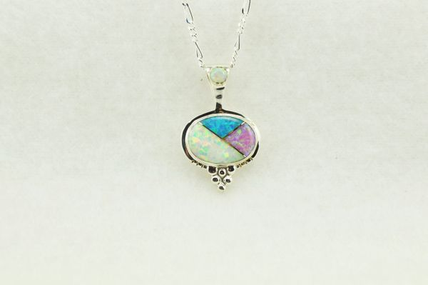 """Sterling silver pink, white and blue opal inlay oval pendant with sterling silver 18"""" figaro chain. N251"""