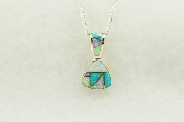 "Sterling silver pink, white and blue opal inlay pick shaped pendant with sterling silver 18"" figaro chain. N252"