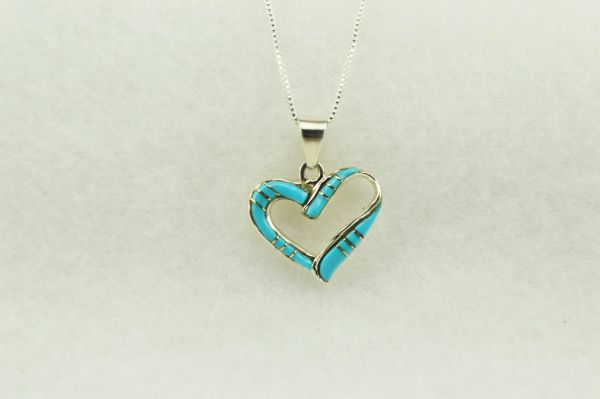 "Sterling silver turquoise inlay heart pendant with sterling silver 18"" box chain. N258"