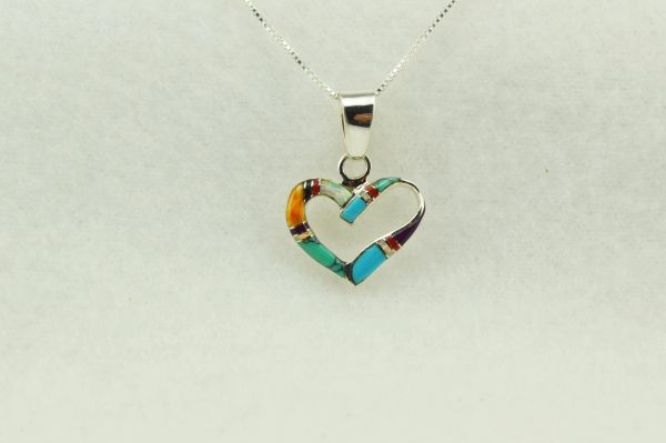 """Sterling silver multi color inlay heart pendant with sterling silver 18"""" box chain. N270"""