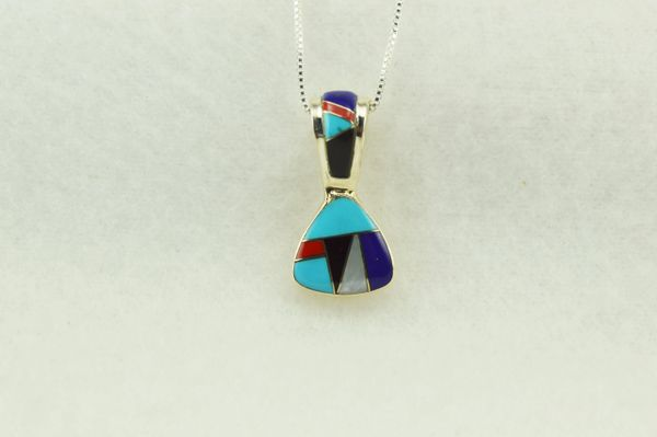 """Sterling silver multi color inlay pick shaped pendant with sterling silver 18"""" box chain. N276"""