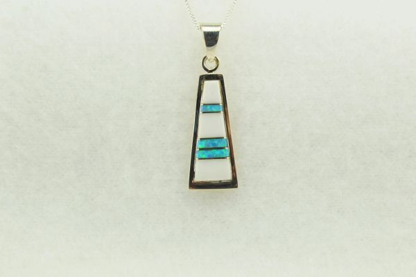"""Sterling silver howlite and blue opal inlay tall triangle pendant with sterling silver 18"""" box chain. N281"""