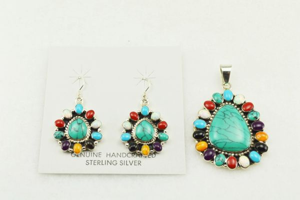 Sterling silver turquoise/multi color earrings and pendant set. S125