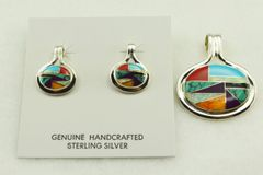 Sterling silver multi color inlay oval earrings and pendant set. S130
