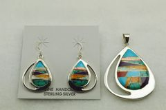 Sterling silver multi color inlay raindrop earring and pendant set. S132