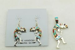 Sterling silver multi color inlay kokopelli earrings and pendant set. S134