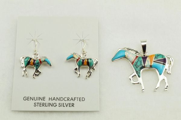 Sterling silver multi color inlay horse earrings and pendant set. S136