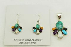 Sterling silver multi color earrings and pendant set. S138
