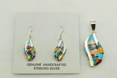 Sterling silver multi color inlay flame shape earrings and pendant set. S141