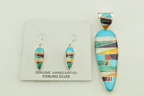 Sterling silver multi color inlay corn cob shape earrings and pendant set. S143