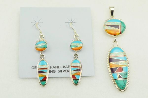 Sterling silver multi color inlay corn cob shape with oval earrings and pendant set. S144