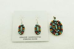 Sterling silver multi color oval earrings and pendant set. S142