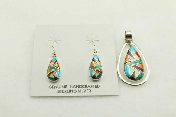 Sterling silver multi color inlay teardrop earrings and pendant set. S151