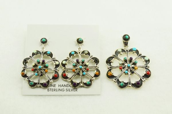Sterling silver multi color inlay hollow round earrings and pendant set. S154