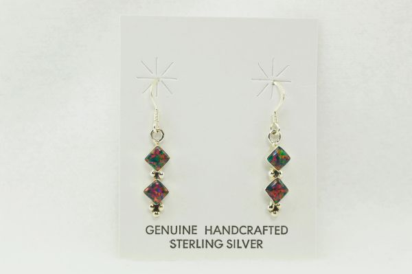 Sterling silver black opal double diamond dangle earrings. E108