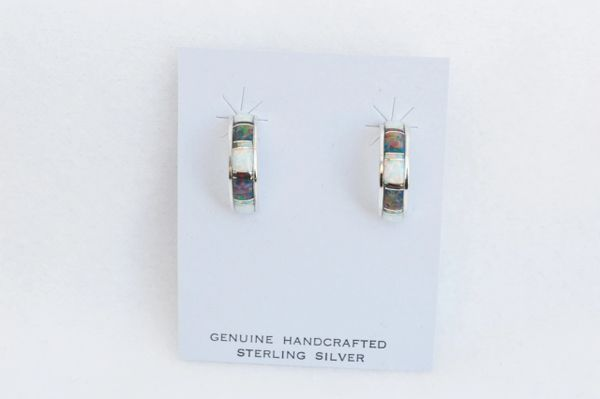 Sterling silver black and white opal inlay medium hoop post earrings. E240