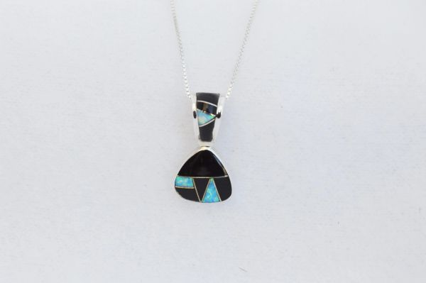 "Sterling silver black onyx and blue opal inlay pick shaped pendant with sterling silver 18"" box chain. N282"