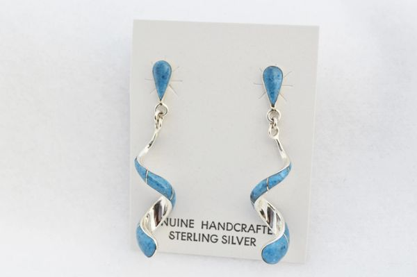 Sterling silver denim lapis inlay twisty post earrings. E347