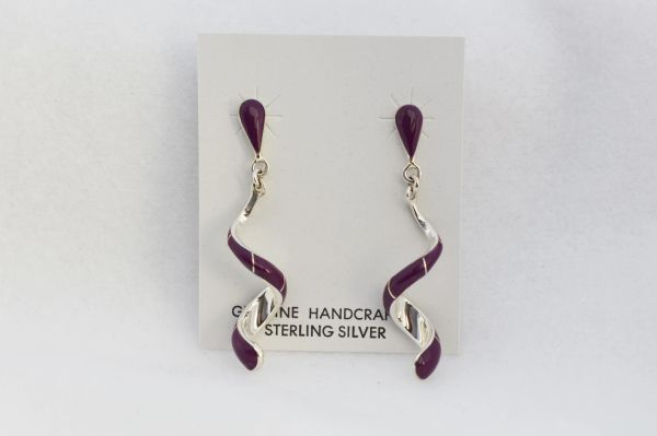 Sterling silver sugilite inlay twisty post earrings. E353