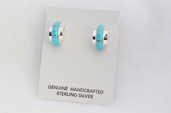 Sterling silver turquoise inlay med/wide hoop post earrings. E290