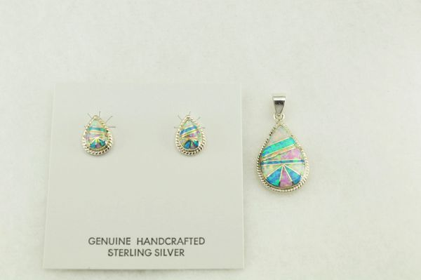 Sterling silver white, blue and pink opal inlay raindrop shaped earrings and pendant set. S165