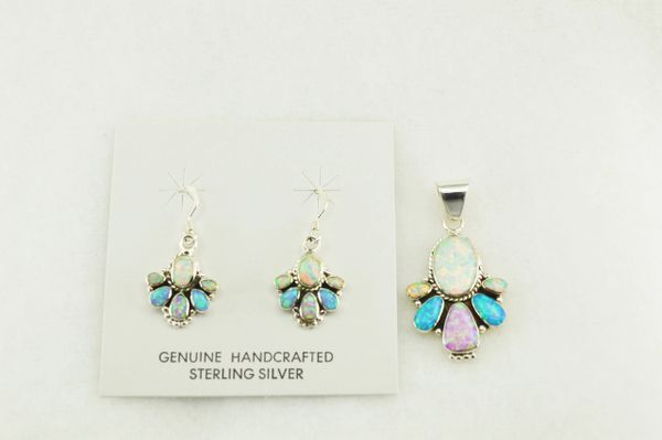 Sterling silver white, blue and pink opal multi oval earrings and pendant set. S166
